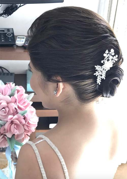 12. Pulled Updo for Short Hair