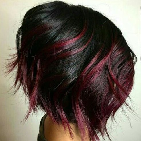 14. Brunette Hair and Cherry Highlights