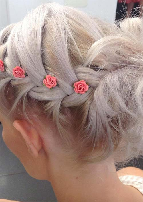 14. Short Updo Accessorized with Roses