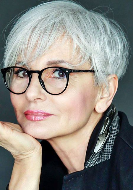 15. Short Gray Hair and Glasses For Old Women