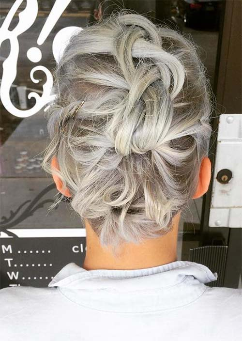 16. Twisted and Tucked Silver Hair