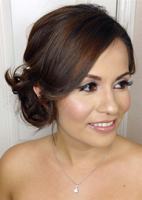 18. Curled Side-Pinned Short Hair Updo