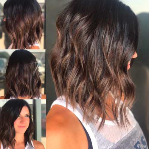 18. Stacked & Highlighted Long Bob