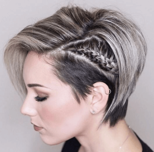 20. Pixie Bob Cut with Braid Hairstyle