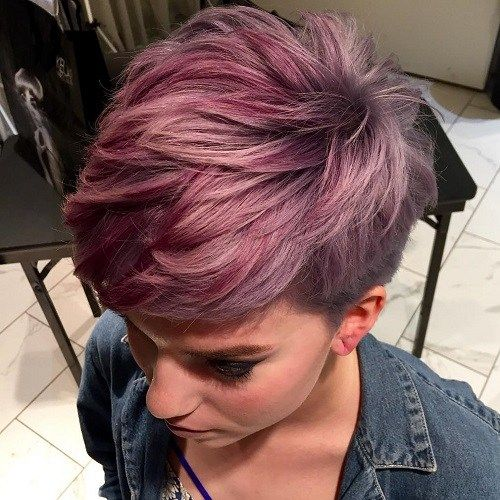 #6. Burgundy Pixie For Thick Hair