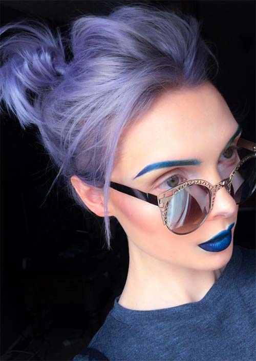 7. Silvery Blue Messy Updo
