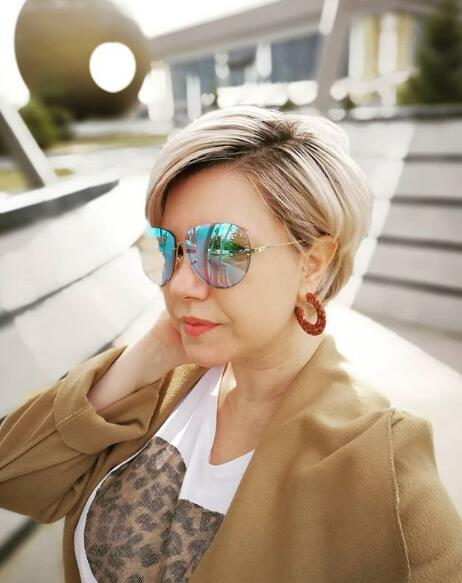 8. Pixie Hairstyle with Sunglasses