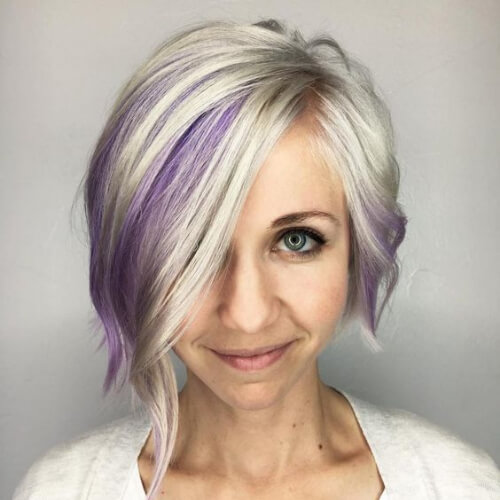 8. Platinum Bob with Purple Highlights