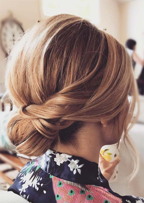 9. Low Bridal Updo for Short Hair