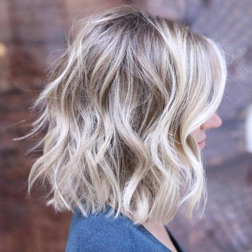 10. Wavy Short Shoulder-Length Lob
