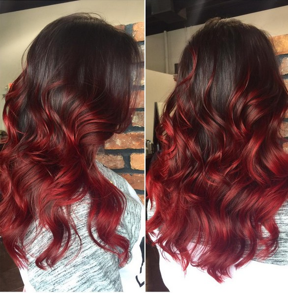 11. Dark Red Ombre On Long Wavy Brunette Hair