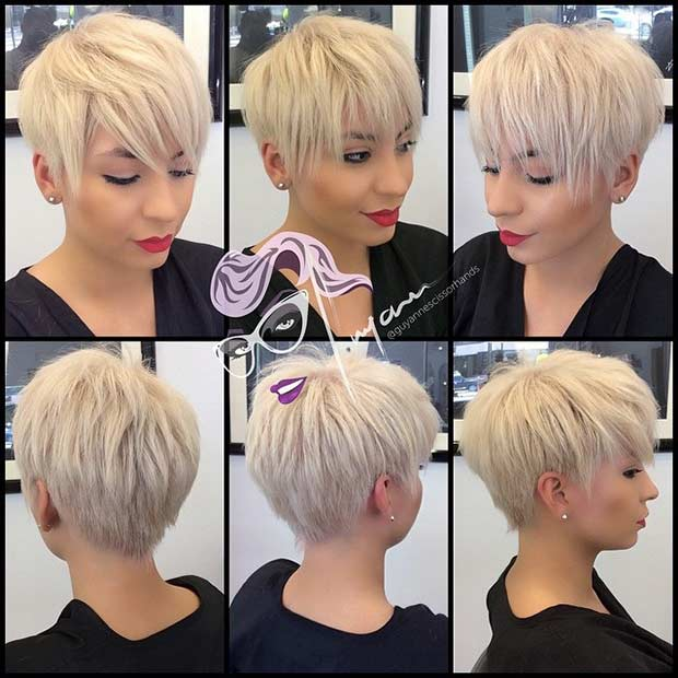 12. Long Blonde Pixie With Choppy Bangs
