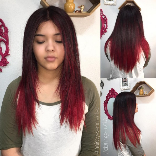 12. Long Layered Hair With Deep Red Ombre