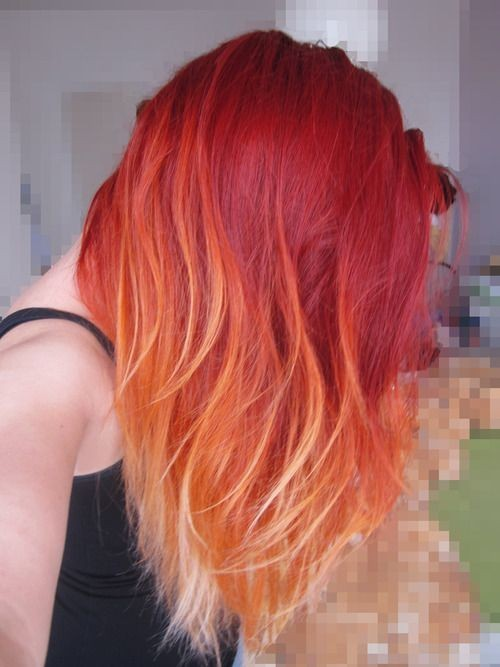 14. Red Ombre On Long Straight Hair