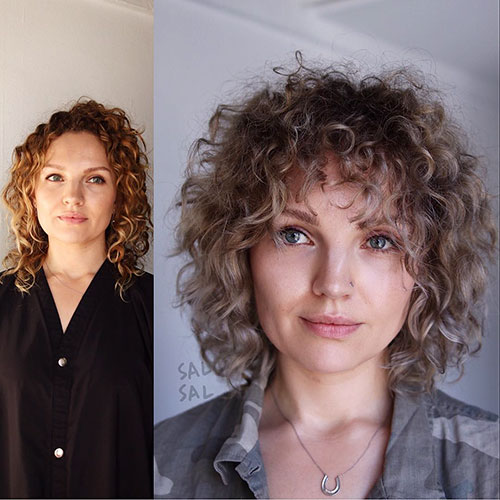 15. Short Curly Hair with Bangs