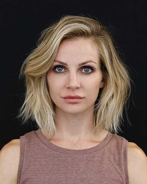 24. Short Blonde Thick Bob Hairstyle