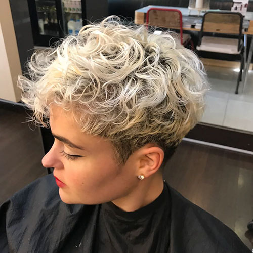 26. Blonde Curly Pixie