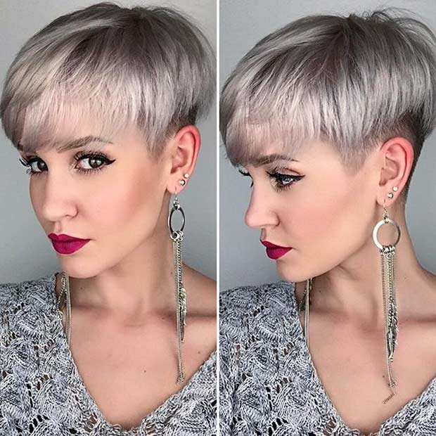 3. Grey Pixie Cut
