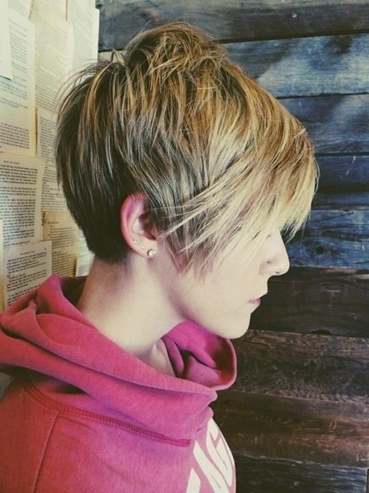5. Straight Long Pixie Haircut with Thick Hair