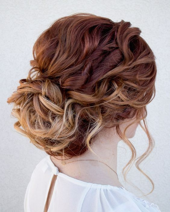 6. Red and Blonde Curly Bun