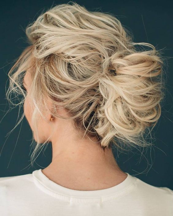 7. Messy Blonde Twisted Bun