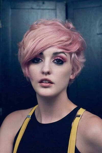 9. Pink Pixie Hairstyle for Wavy Hair