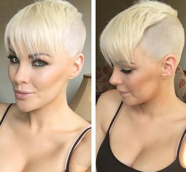 9. Shaved Blonde Pixie Cut