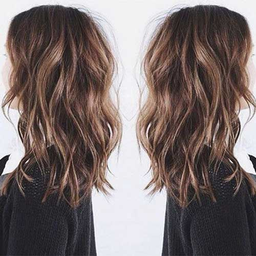 Shoulder length with beach waves