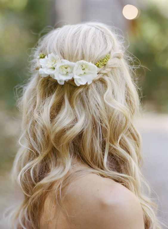 loose half up braid wedding hairstyle