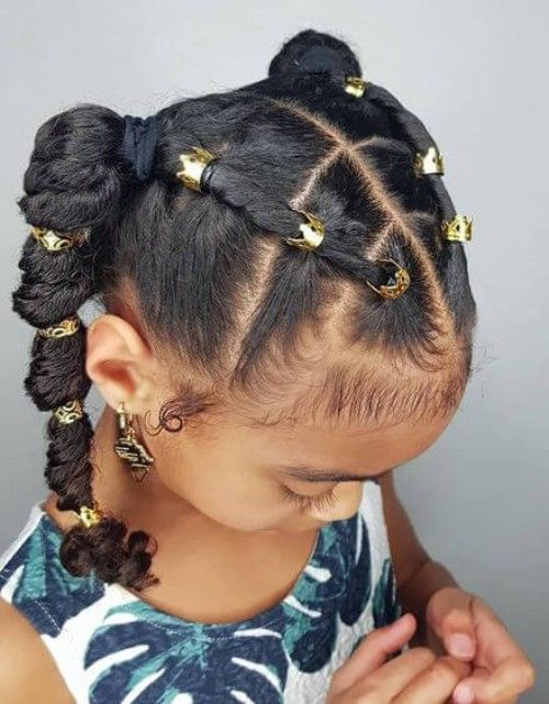 Adorable Braids with Beads Hairstyles for Black Kids