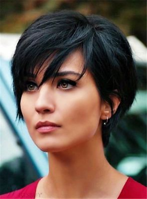 Short Straight Black Wig Synthetic