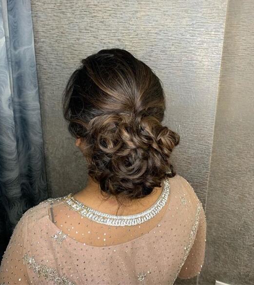 Textured messy updo
