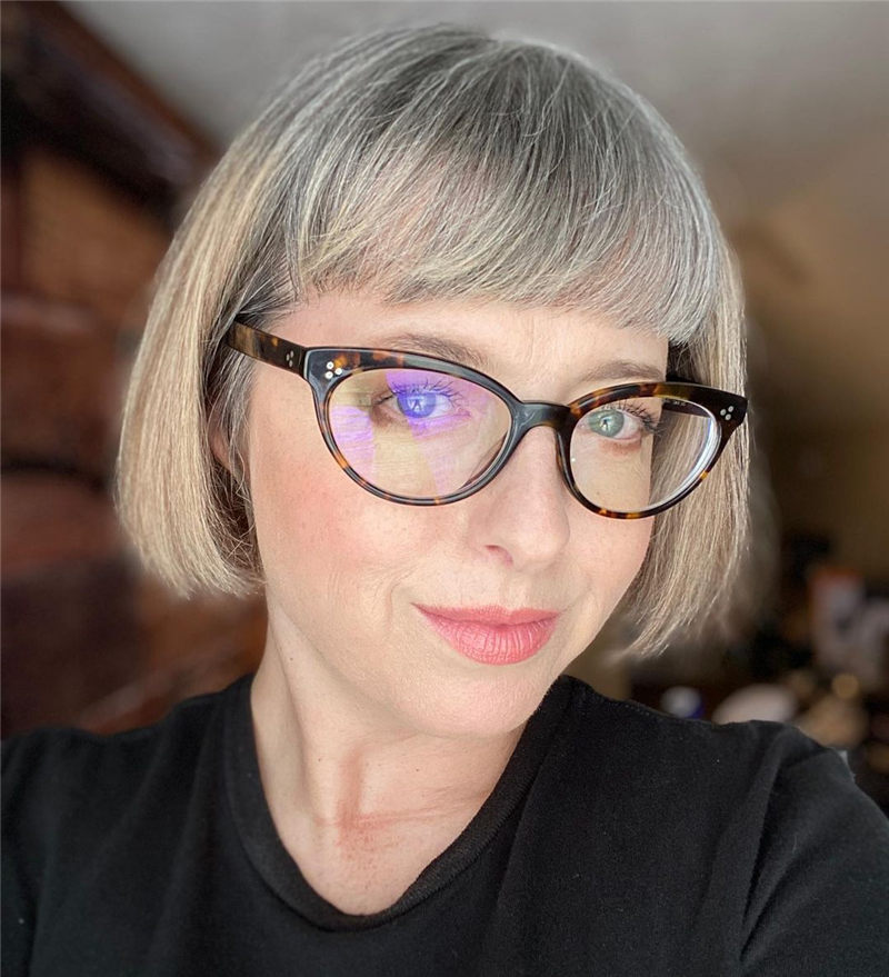 Grey Bob with Bangs