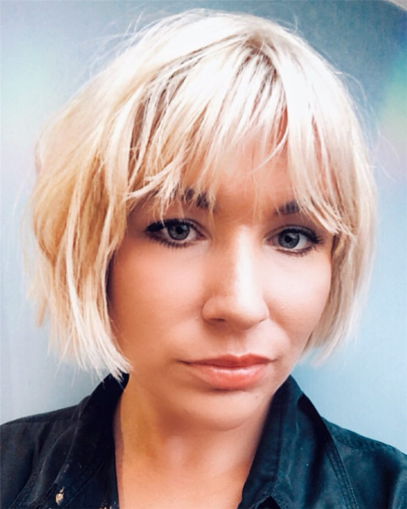 Platinum Bob with Bangs