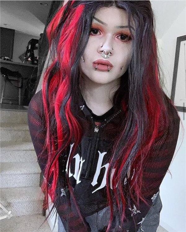 Long Red and Black Hair