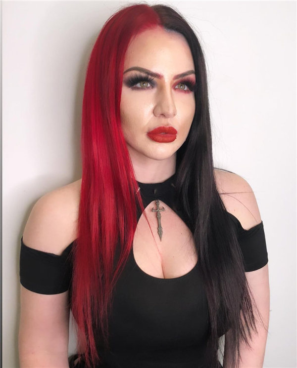 Long Straight Red and Black Hair
