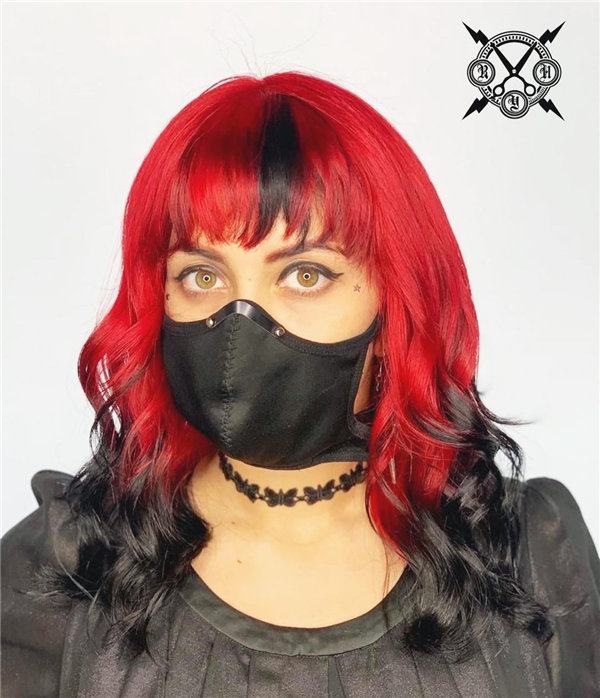 Medium Red and Black Hairstyle