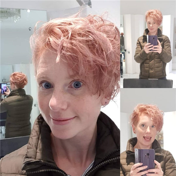 Pink CurlyPixie Cut