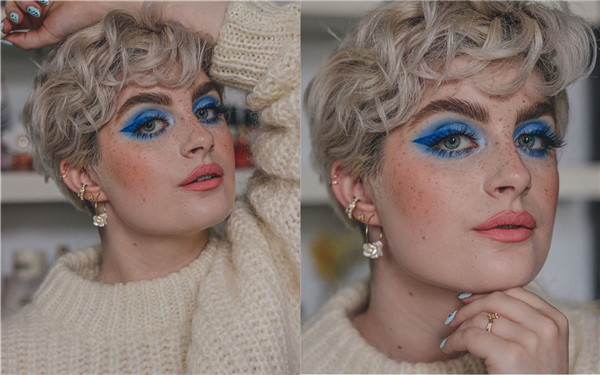 Textured Pixie with Blue Eye Shadow