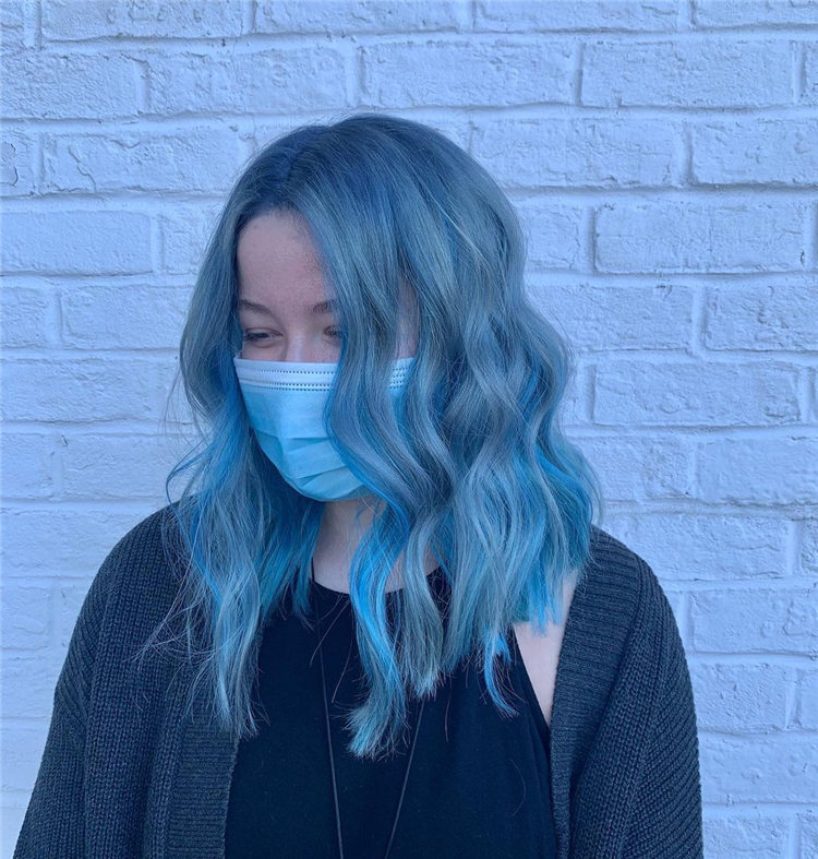 Steal Blue Medium Hair