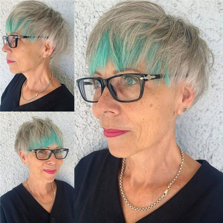 Blonde Pixie Cut with Green Highlights