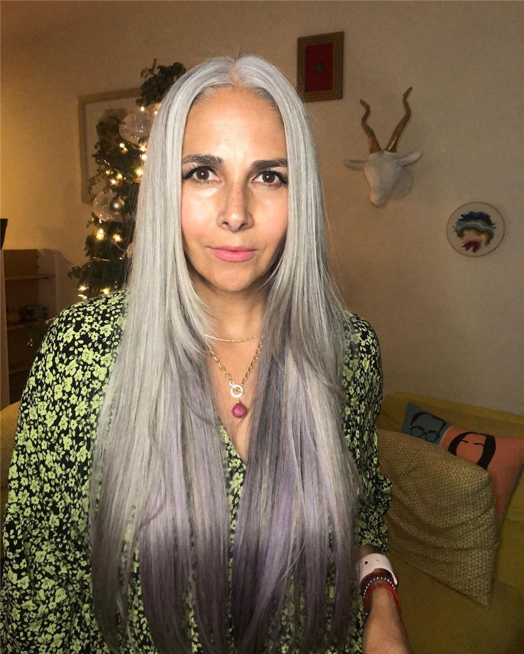 Long Ombre Grey Hair
