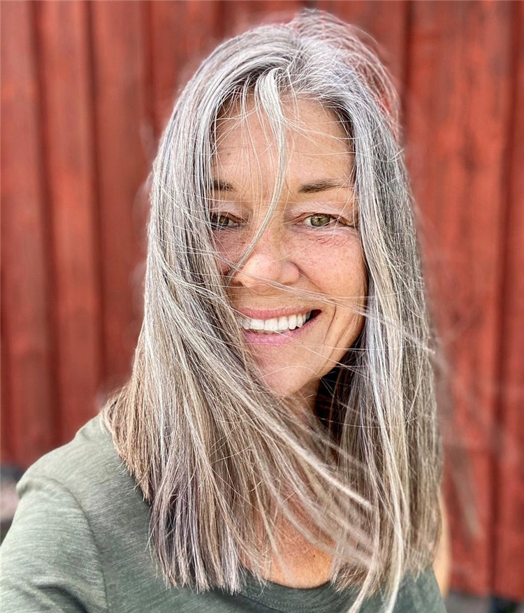 Long Straight Grey Hairstyle 1