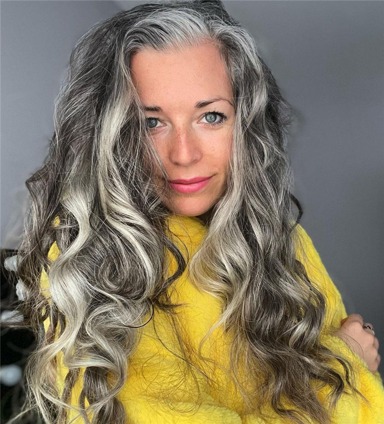 Long Wavy Grey Hair
