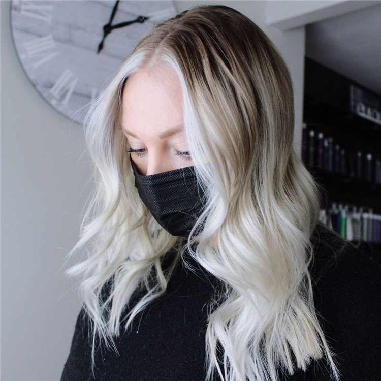 White Blonde with Dark Rooted