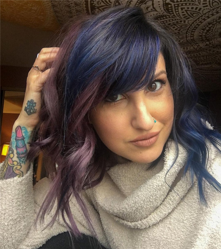 Blue and Purple Wavy Hair