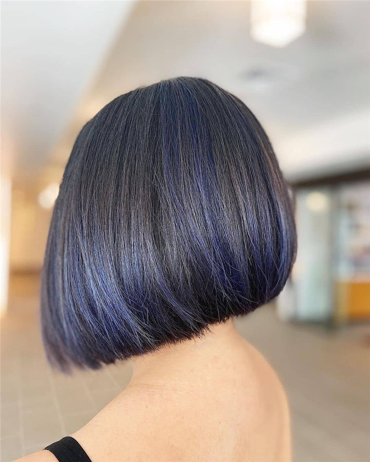 Bob Cut with Purple Highlights