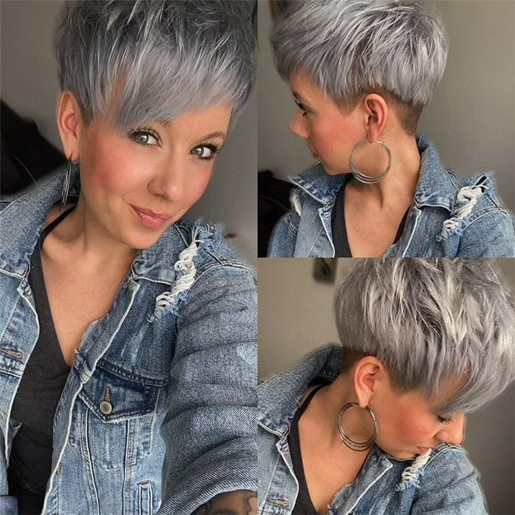 Grey Pixie Cut with Bangs
