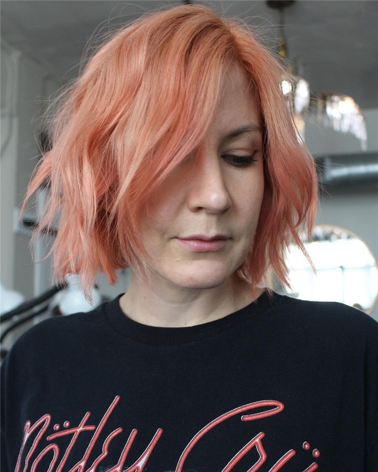 Orange Bob Haircut