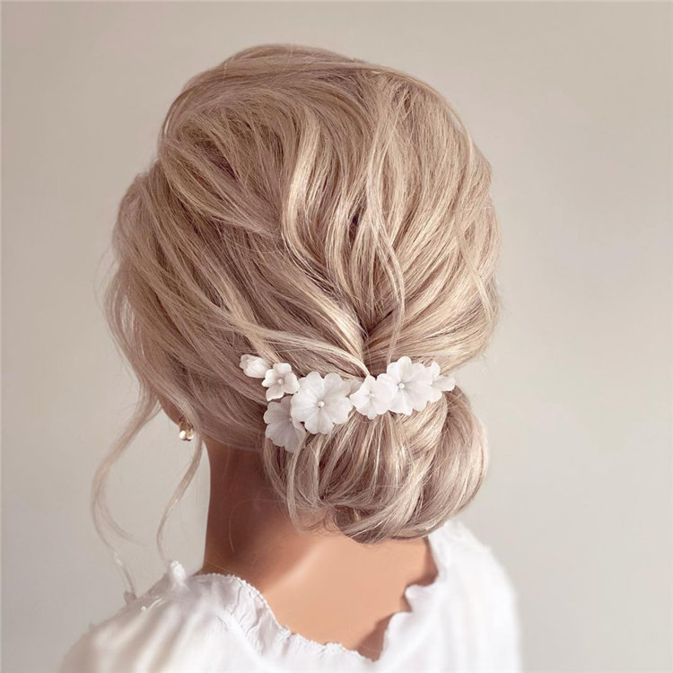 Romantic Updo with Flowers